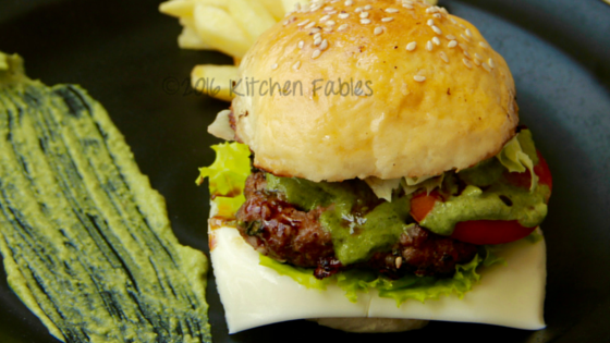 Home Made Lamb Burger  with Basil and Red Wine Sauce