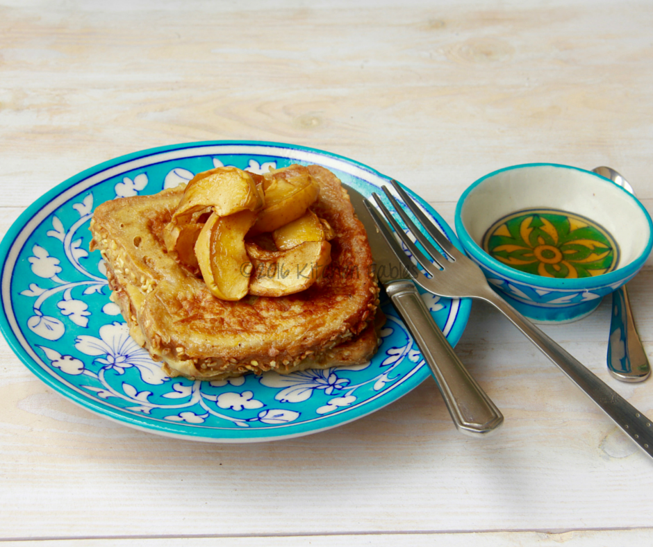 Sweet French Toast Served with Baked Apples and Honey