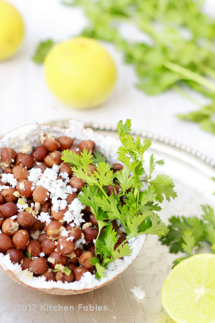 Kala Chana or Brown Chickpea Sundal without Oil